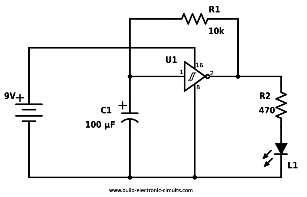 Blinking Led Circuit Using Schmitt Inverter Pic Microcontroller Electrical Schematic Symbols Led