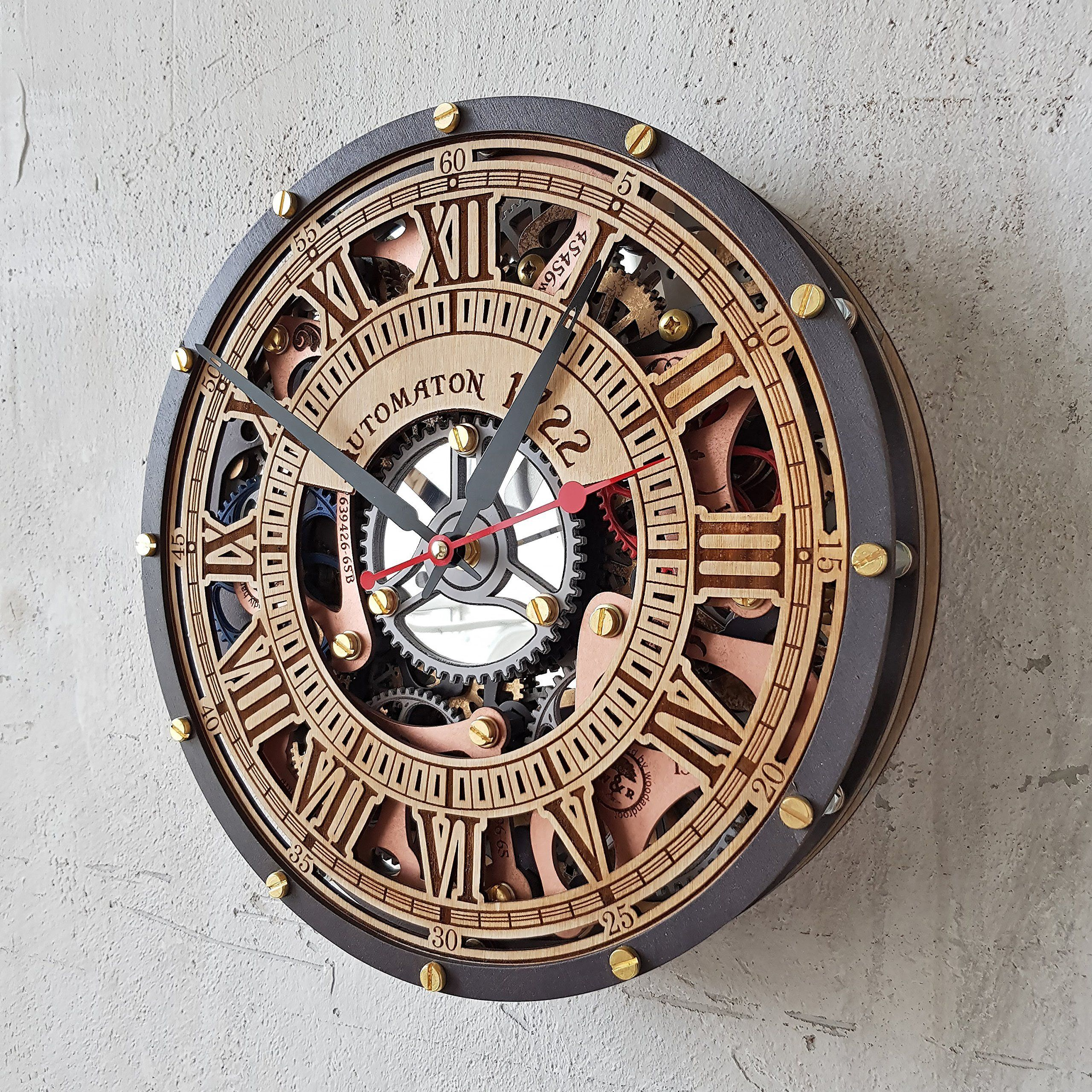 Automaton Skeleton 1722 Handcrafted Moving Gears Wall Clock By
