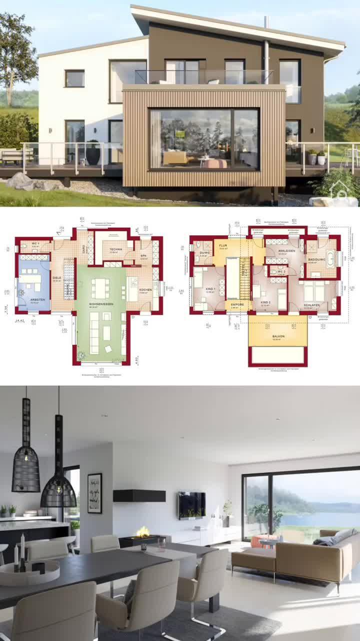 Einfamilienhaus Neubau modern mit Pultdach bauen Haus Grundriss offen mit Galerie Erker & Balkon