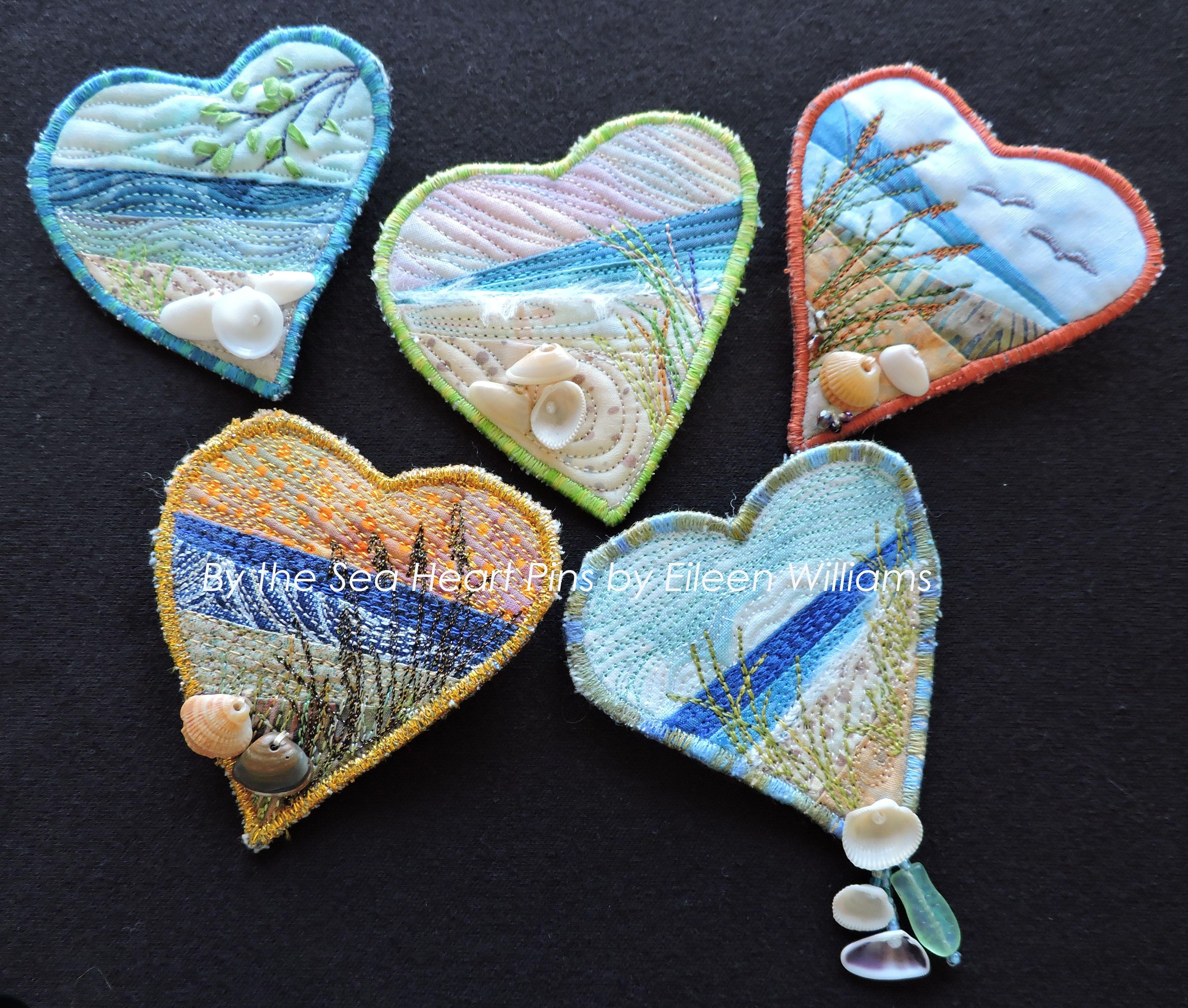 Fiber Art Heart Pins by Eileen Williams