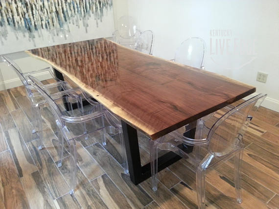 Live Edge Kitchen Table Quartz Countertops Colors For Kitchens Dining Made To Order Custom Modern Industrial T
