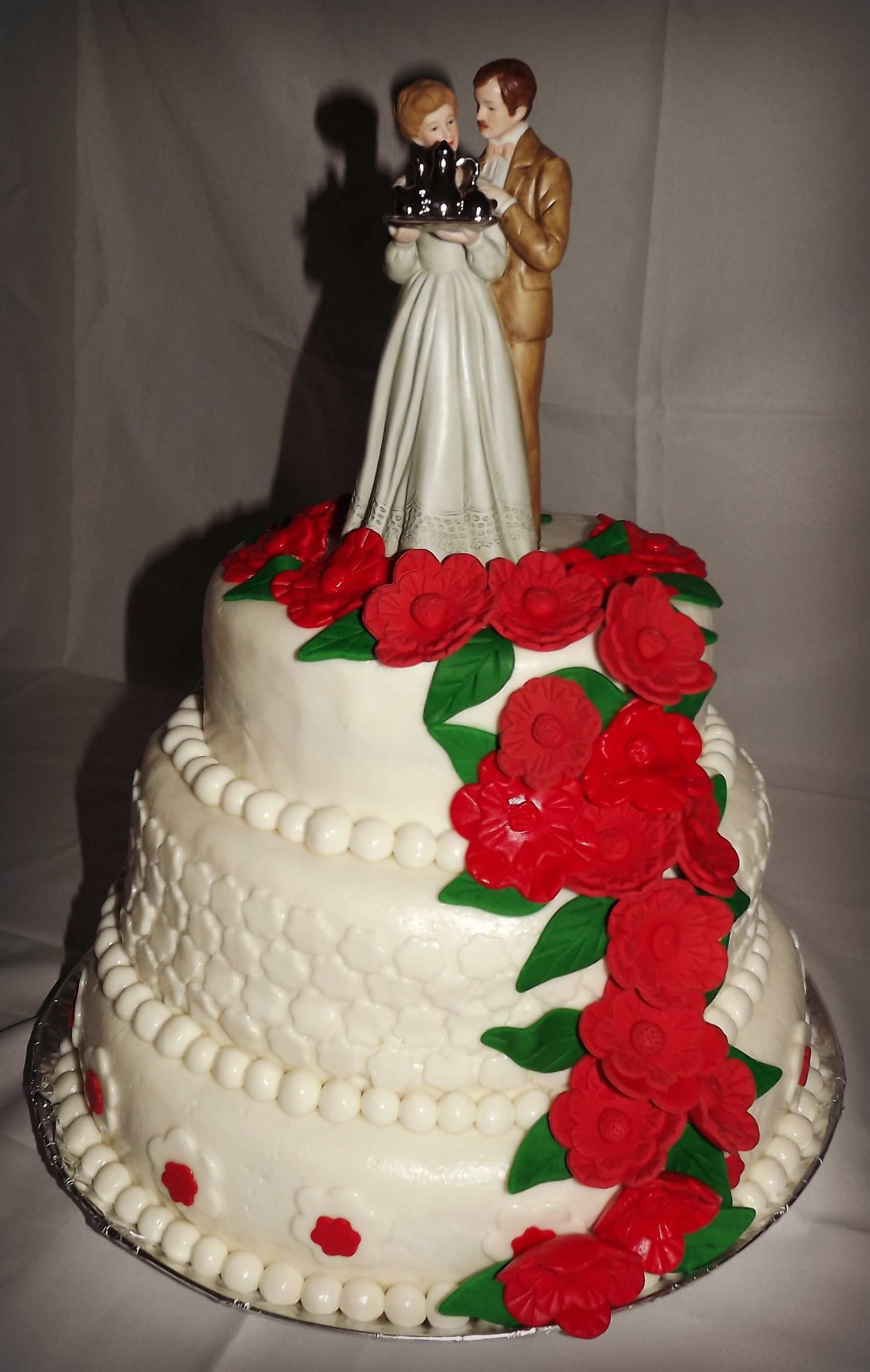 40th wedding anniversary cake- 3 tier vanilla with custard filling, butter cream icing, marshmallow fondant