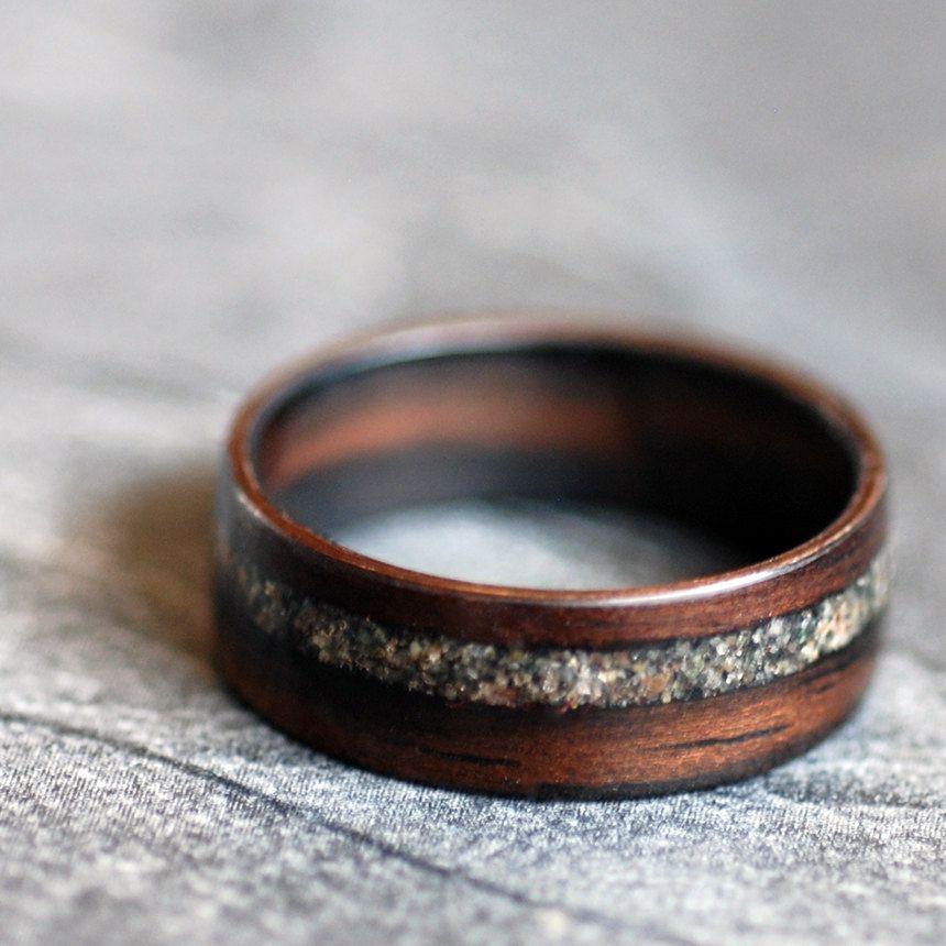 Wooden Ring Ebony with Lake Superior Sand 18000 via Etsy My