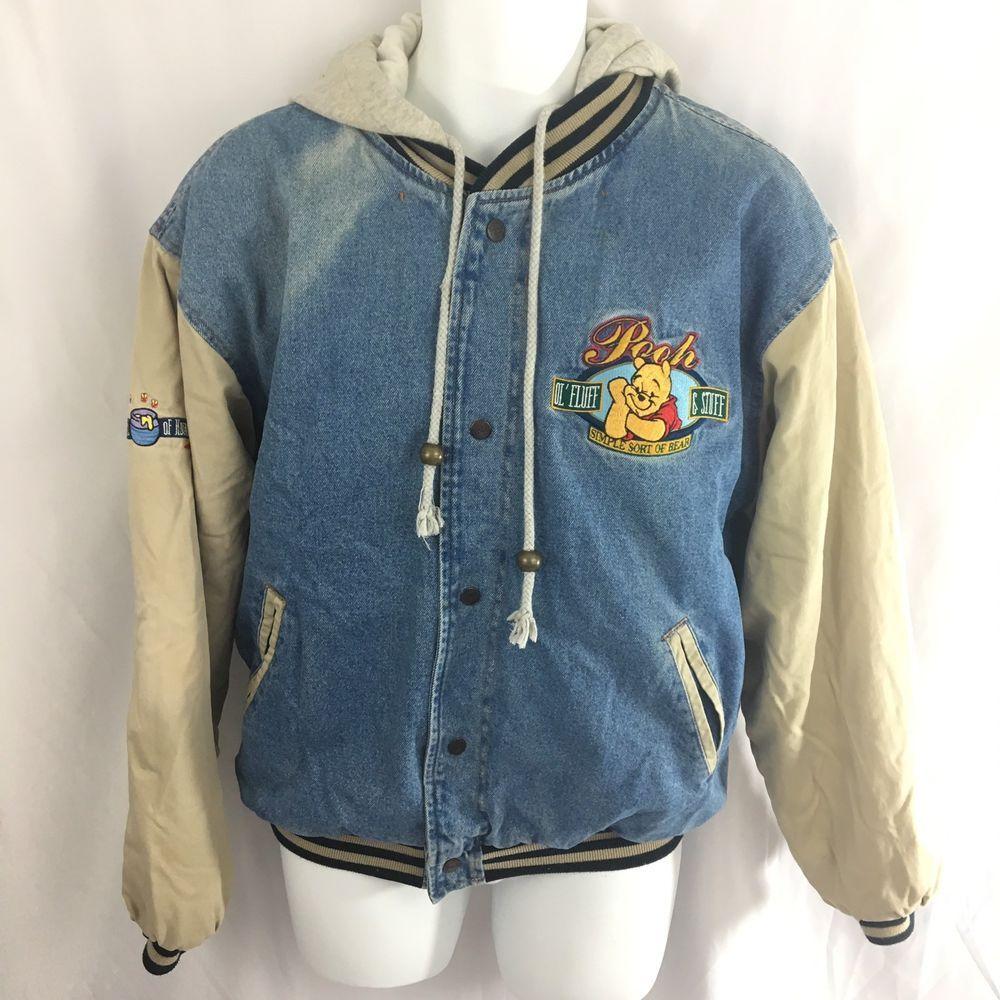 d696ff2a Vintage Disney Winnie The Pooh Varsity Jacket Mens Size Large Denim Blue  Jean | eBay