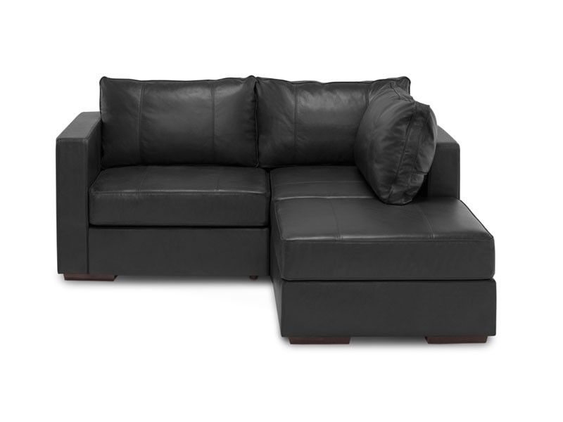 Beautiful Small Chaise Sectional With Black Dream Top Grain Leather Covers