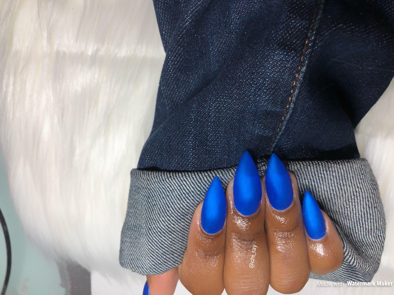 Royal Blue Matte Nails Stiletto Nails Glam Denim Jackets ...