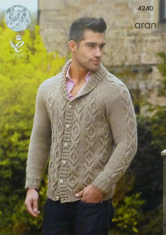 Hombres tejer patrón K4240 para hombre largo manga Cable chaqueta ...