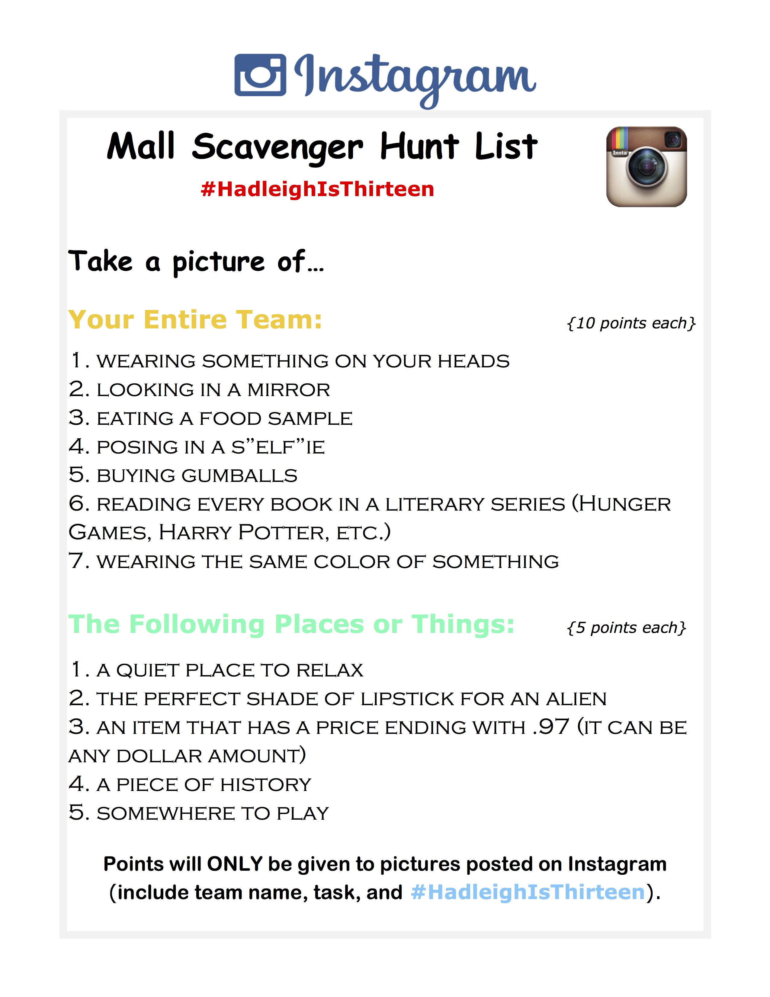 4c41bc32 Mall Scavenger Hunt List- Tasks #scavengerhunt #mallscavengerhunt ...
