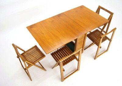 Drop Leaf Table 4 Self Storing Folding Chairs Set Danish Mid