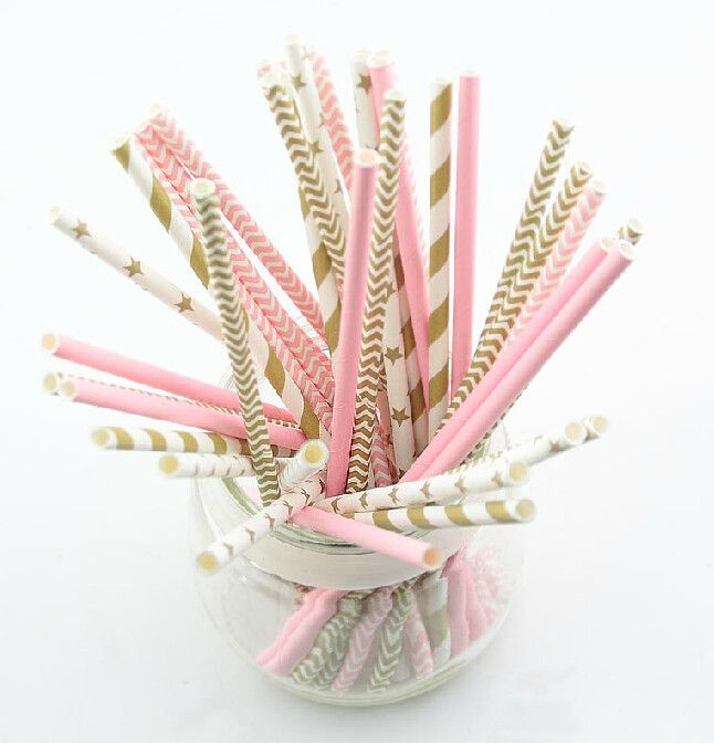 125pcs5bagspink gold striped mixed kids birthday wedding cheap paper party buy quality paper culture directly from china straw suppliers gold striped mixed kids birthday wedding decorative party decoration event junglespirit Gallery