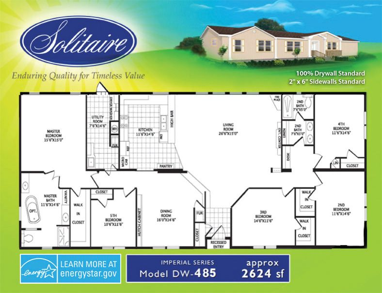 Floorplans For Double Section Manufactured Homes Solitaire