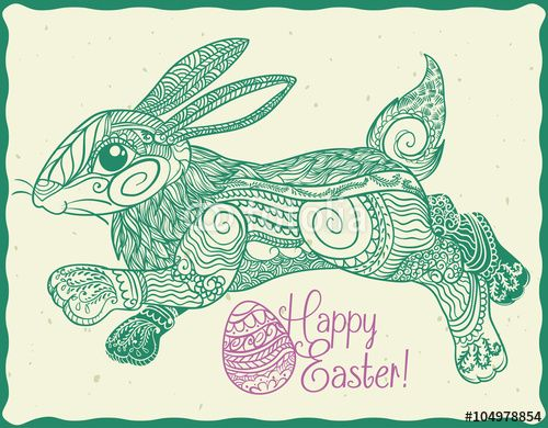 Cute Zentangle Stylized Easter Bunny