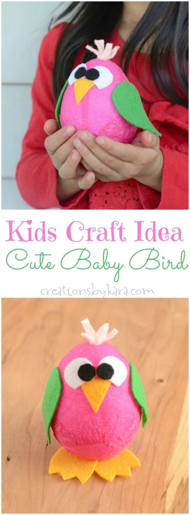 Cute Craft Ideas For Kids Part - 16: Easy Kids Craft Idea- Cute Baby Bird - Keep The Kids Busy When The Weather