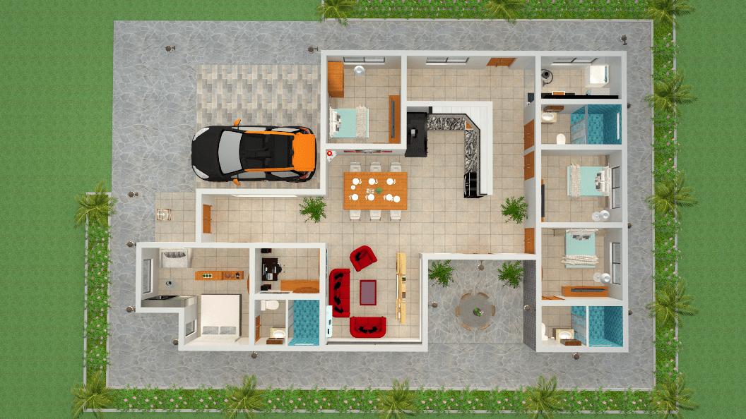 Dise os y planos de casa de un piso minimalista proyecto for Casa minimalista guayaquil