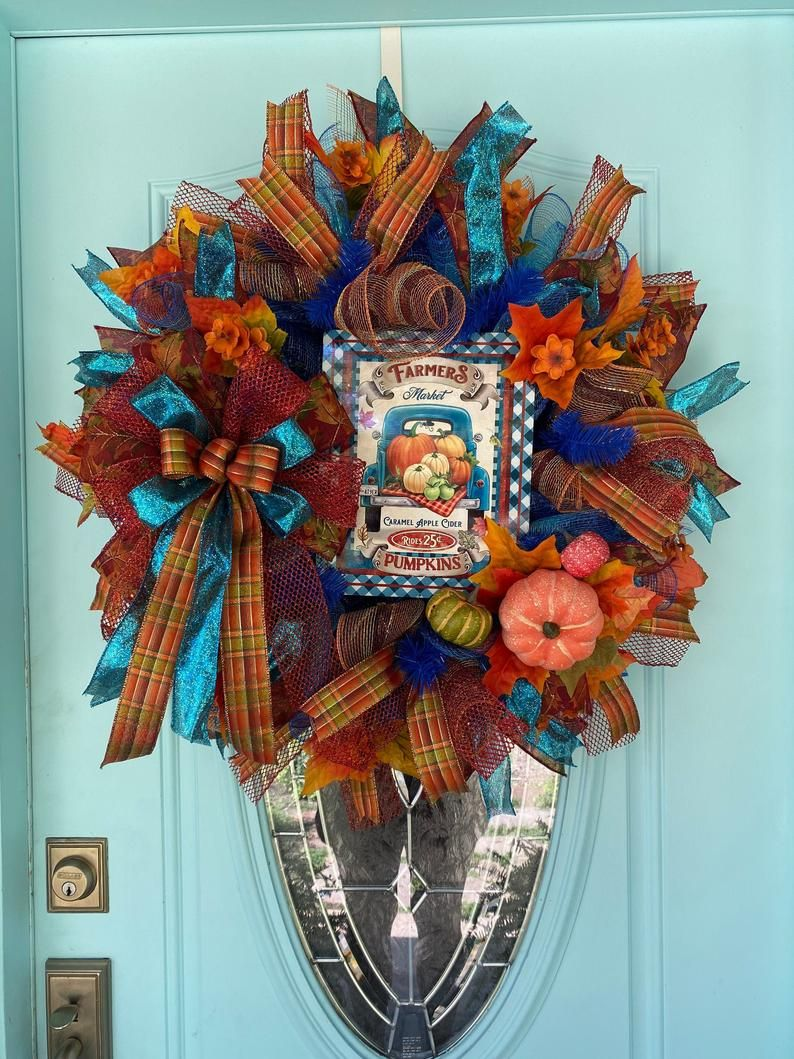 Blue fall farmhouse and pumpkin wreath for front door