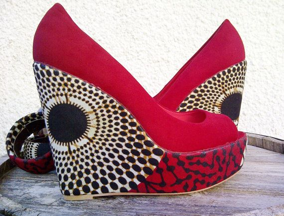 81d16774bcd87 Red African Print Wedge by SouthOfAfrica on Etsy, $60.00   SHOES ...