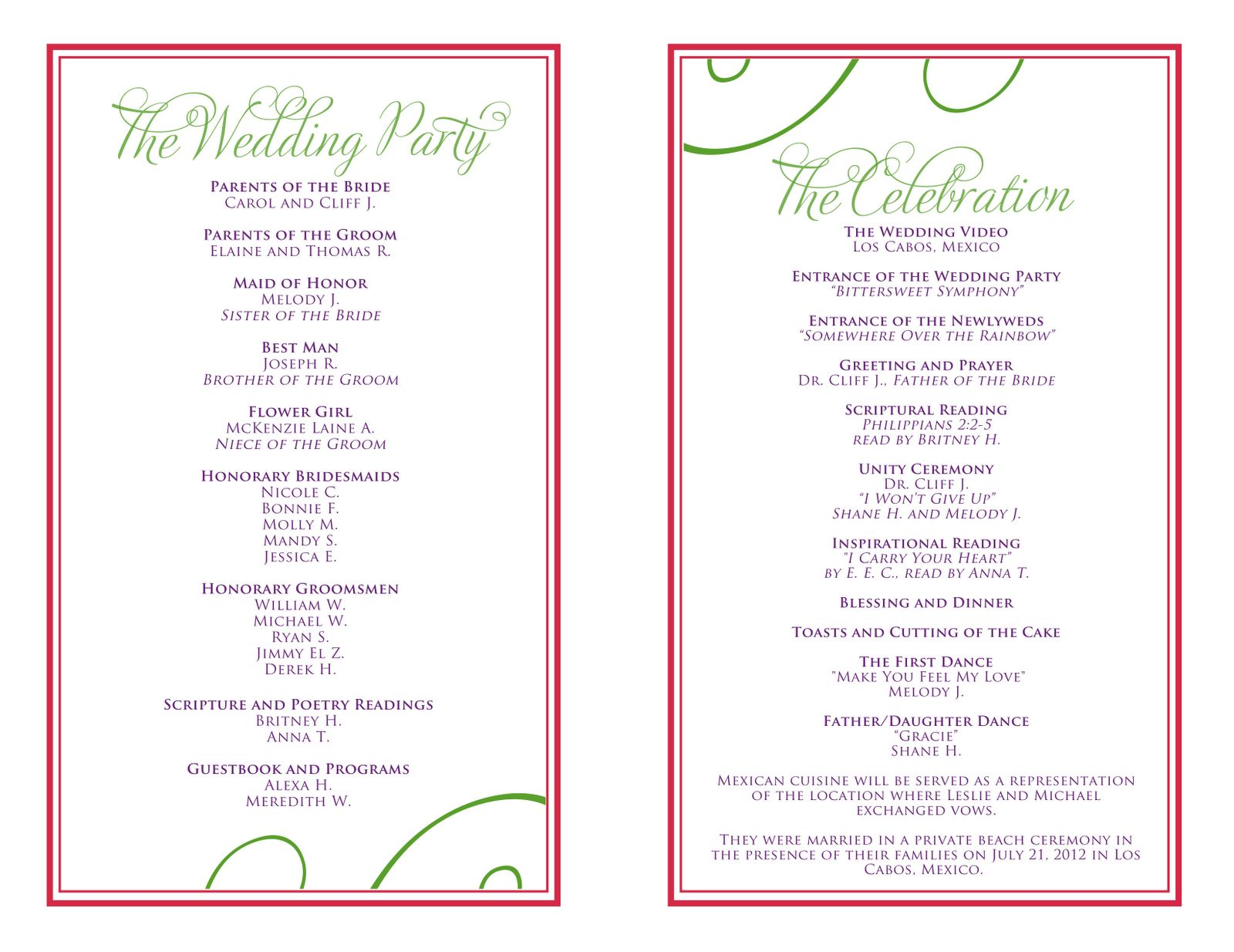 The Enchanting Wedding Itinerary Templates Free Wedding Reception Wit Printable Wedding Program Template Wedding Reception Program Printable Wedding Programs Free word wedding program template