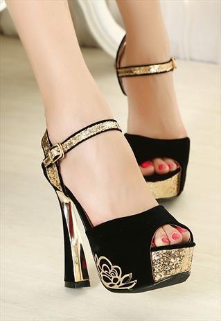 Black and Gold Ankle Strap Spool High Heels  #blackplatforms #blackheels #goldstrap