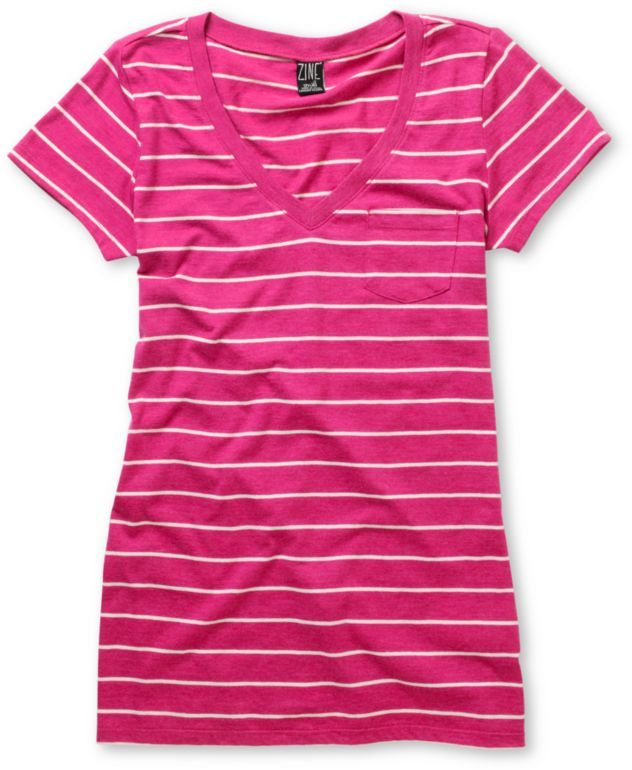 Zine iris pink white striped v neck t shirt iris and for Pink and purple striped rugby shirt