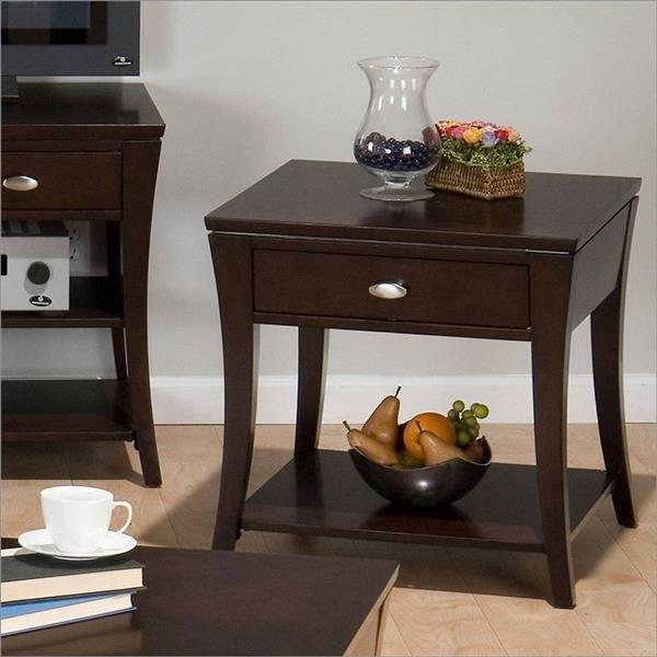 Manhattan Contemporary Espresso Wood End Table W Drawer Espresso