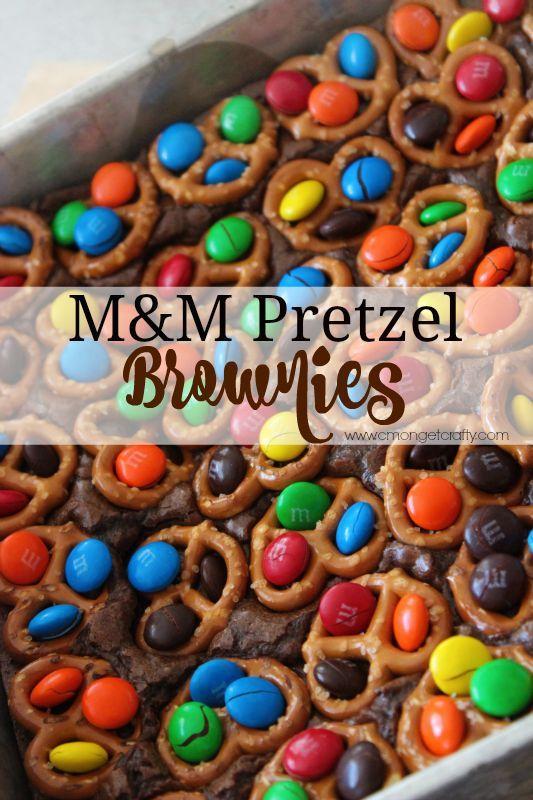 Movie Night Treats: M&M Pretzel Brownies - C'mon Get Crafty