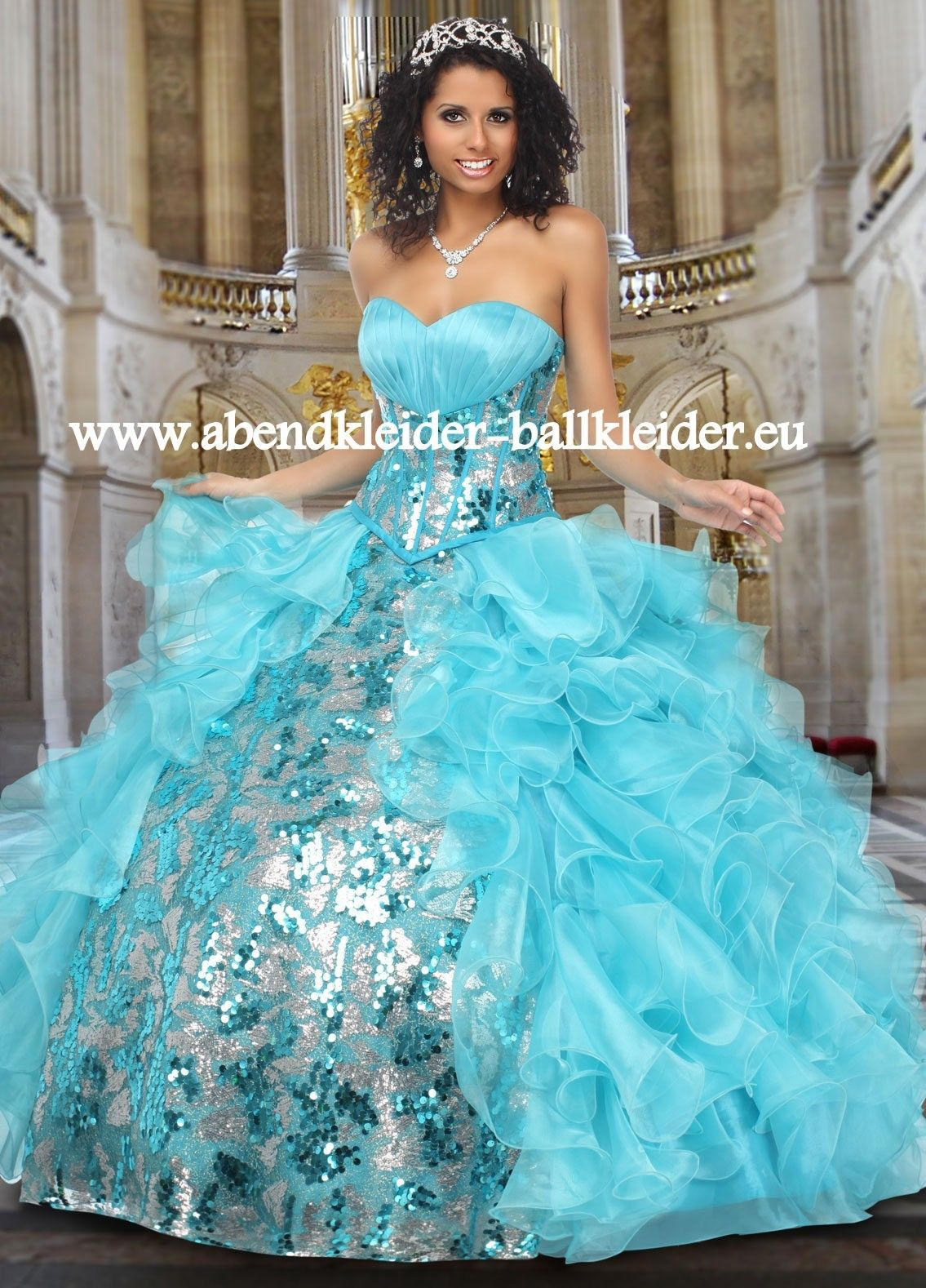 Metallic Look Abendkleid ballkleid Brautkleid in Hell Blau | Kleider ...