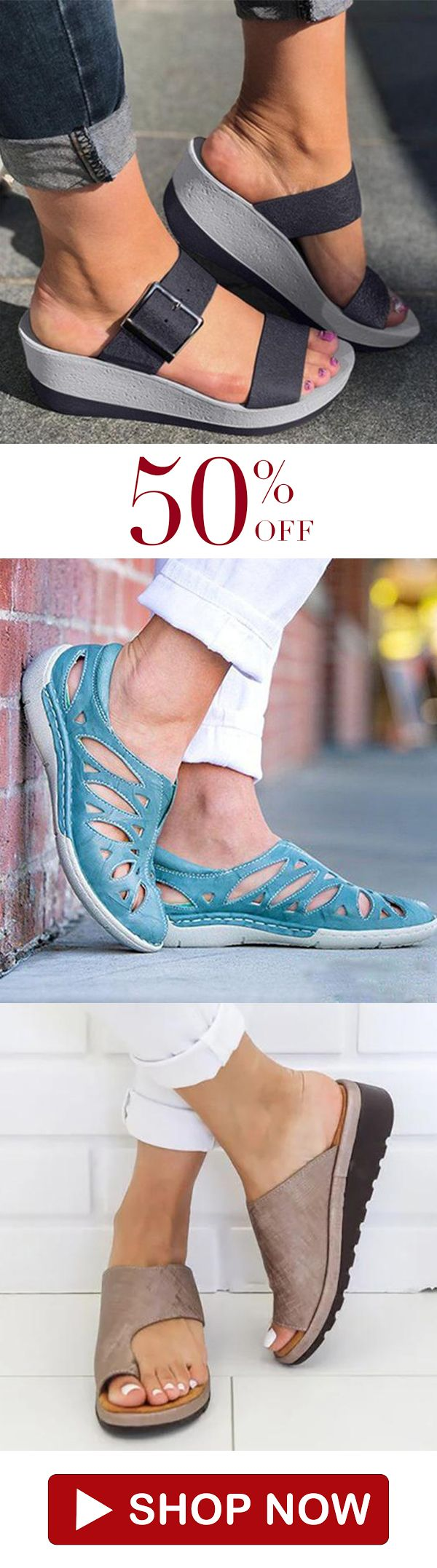 Daily Solid Color Open Toe Sandals is part of Shoes -