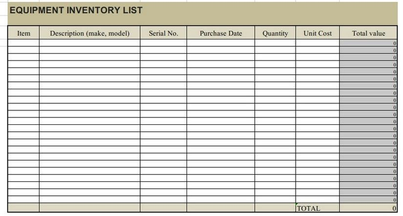 Equipment Inventory List Template from i.pinimg.com