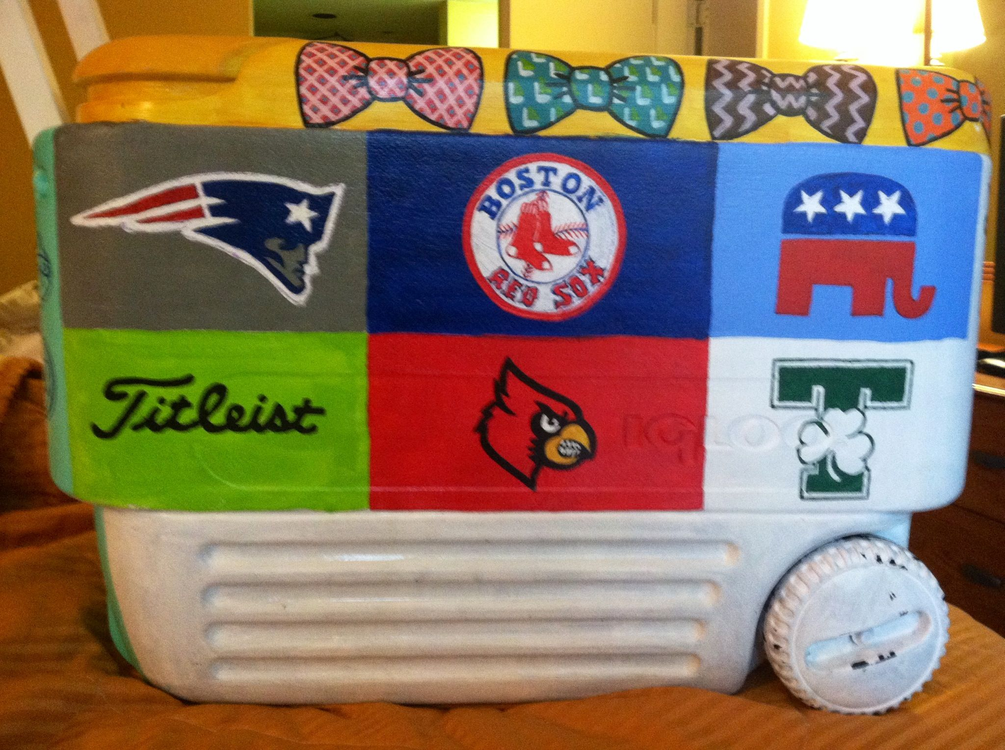 All of his favorite things: patriots, Red Sox, titleist, republican, UofL, Trinity #FRAT #SAEformal #cooler