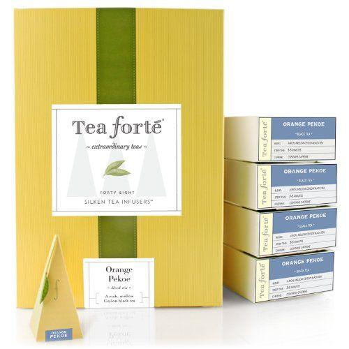 Tea Forte Event Box - 48 Silken Pyramid Infusers - Orange Pekoe - http://mygourmetgifts.com/tea-forte-event-box-48-silken-pyramid-infusers-orange-pekoe/