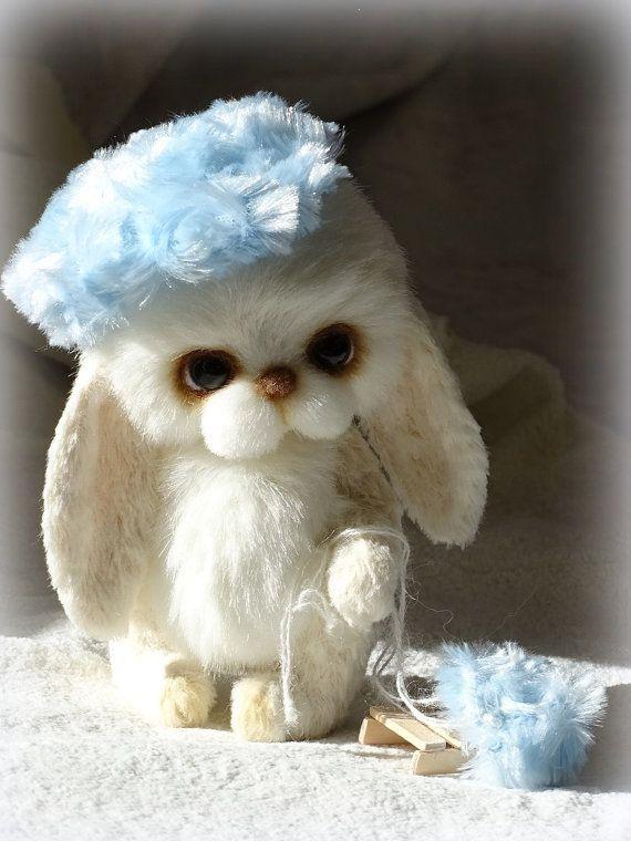 White Artist Teddy Bunny stuffed toy. by FeltSilkArtGift on Etsy
