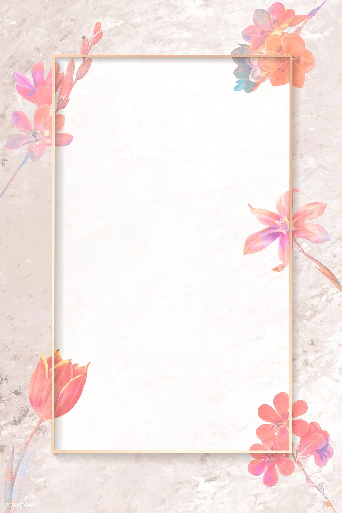 Download premium vector of Blank pink floral rectangle