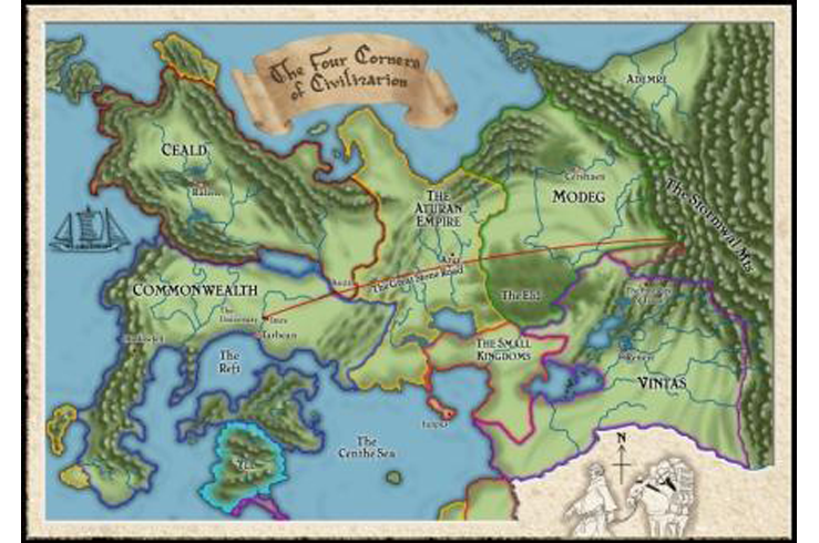 Four Corners of Civilization map for Patrick Rothfuss' The Name of on the riyria chronicles map, unicorn chronicles luster of a map, powder mage trilogy map, terry pratchett discworld map, jim butcher codex alera map,