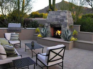 Fireplace Accent With Wellspring Planters On Either Side Outdoor