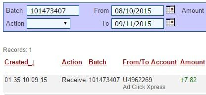 I am getting paid daily at ACX and here is proof of my latest withdrawal. This is not a scam and I love making money online with Ad Click Xpress. SIGN UP: http://www.adclickxpress.com/?r=cafaavwzwjp2&p=mx