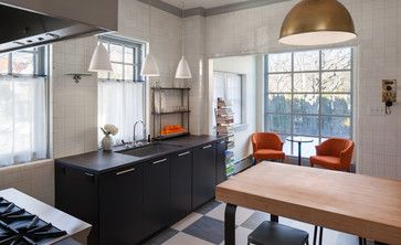 Our Contemporary Kitchen in Milwaukee  - butcher block, gold pendant, orange accents www.remodelwithsaz.com