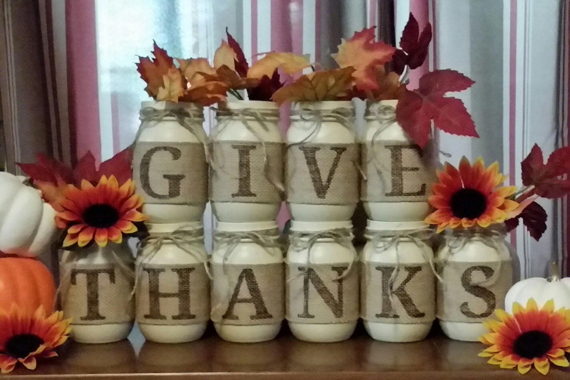 GIVE THANKS Mason Jars, Home Decor Set, Fall Decor ...