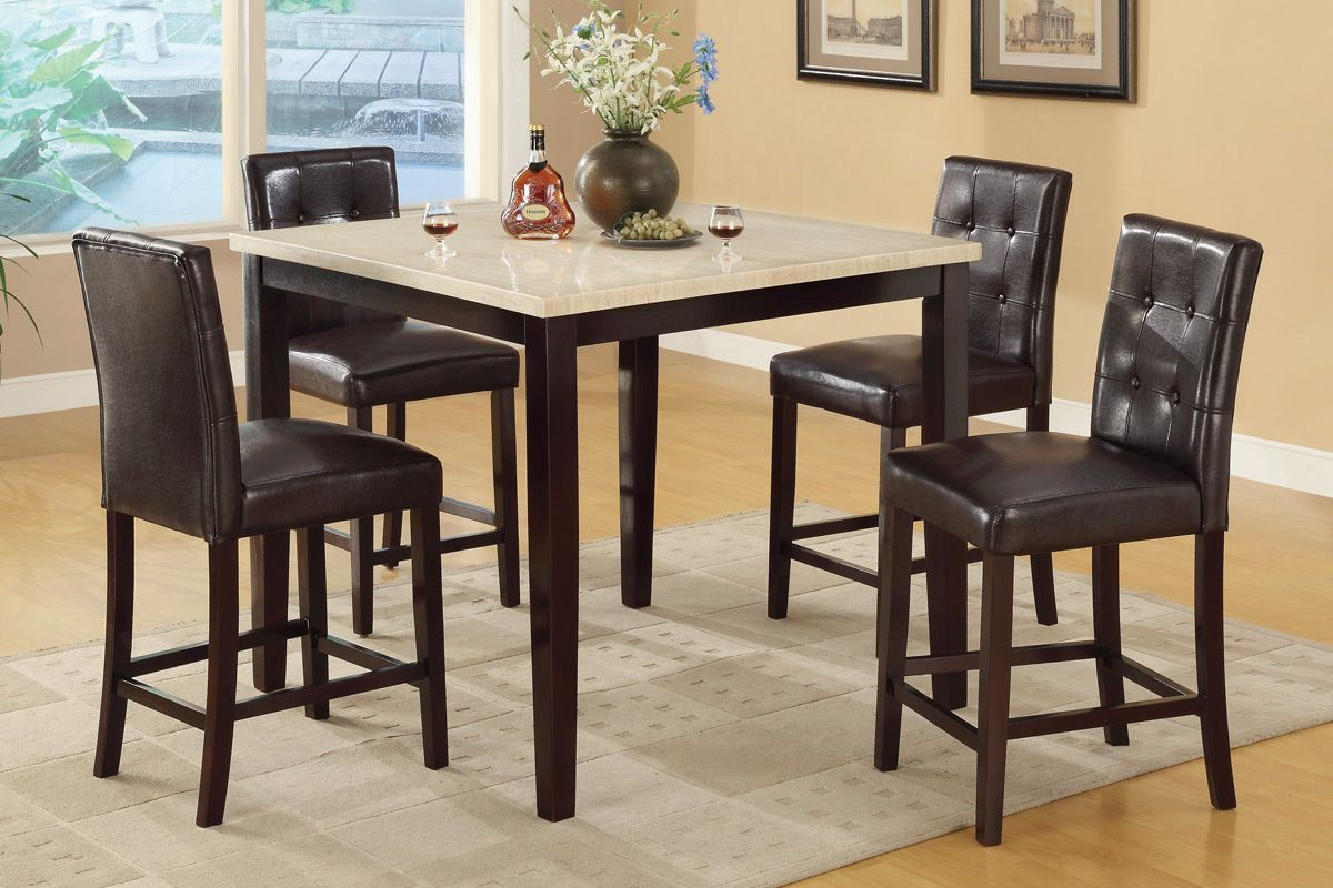 P2338 Brown Table 4 Chairs 2338 1144 Poundex Counter Height Dining Sets Counter Height Dining Table Counter Height Dining Table Set Dining Room Table Marble