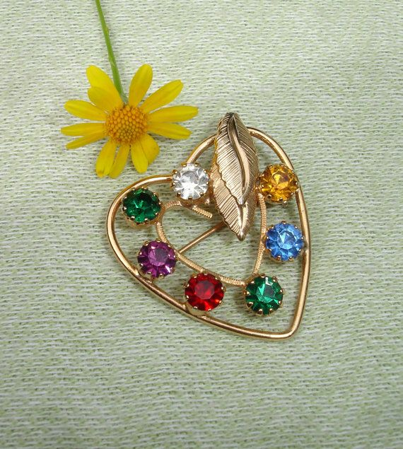 Colorful Vintage Gold Heart Brooch - Vintage Jewelry