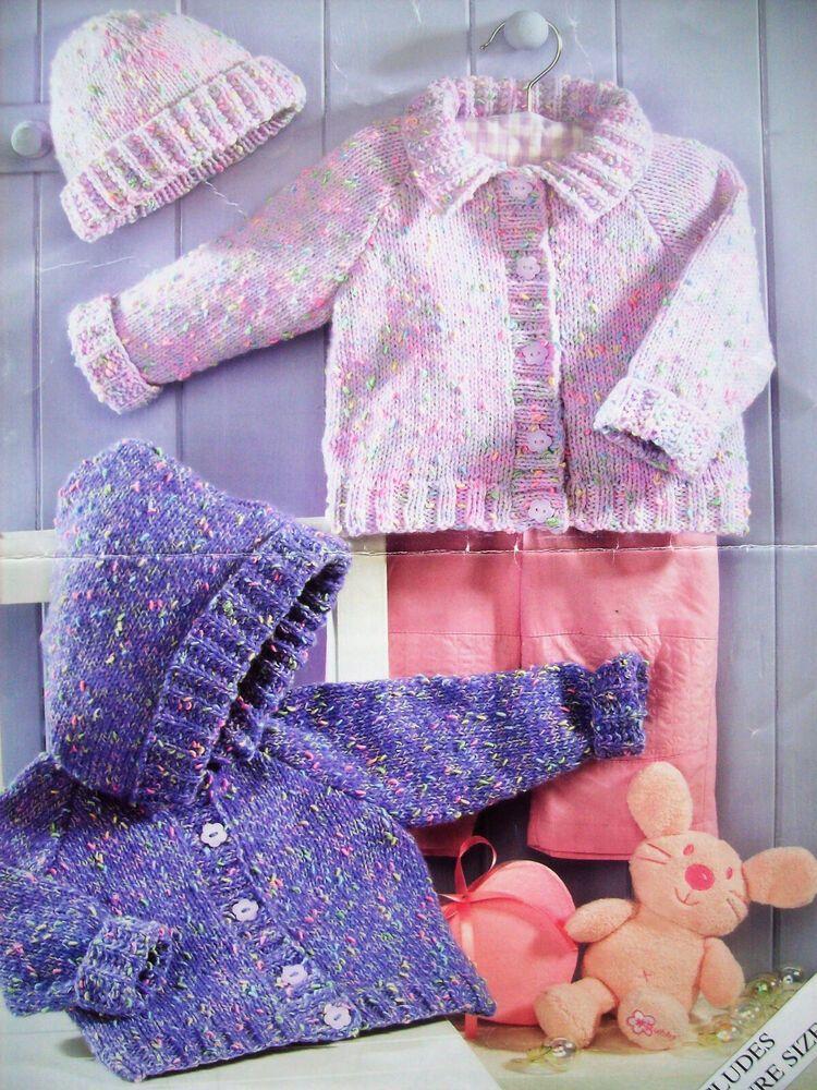 Baby Girls Hooded Coat Jacket Scarf KNITTING PATTERN DK 16-24in 0-4yr Vintage