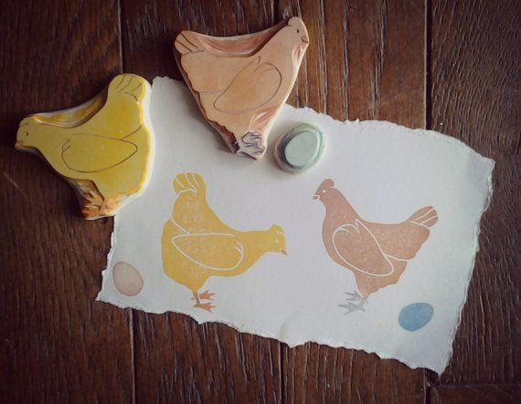 Hens and Egg Rubber Stamp Set | Chicken Hand Carved Stamps #rubberstamping
