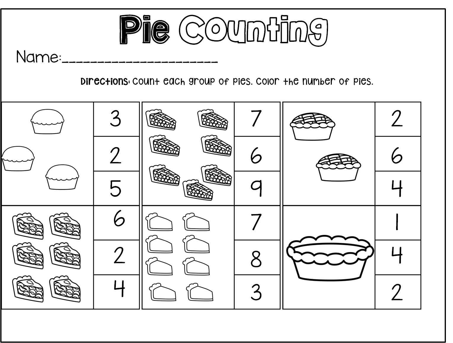 Thanksgiving Math Worksheet Preschool