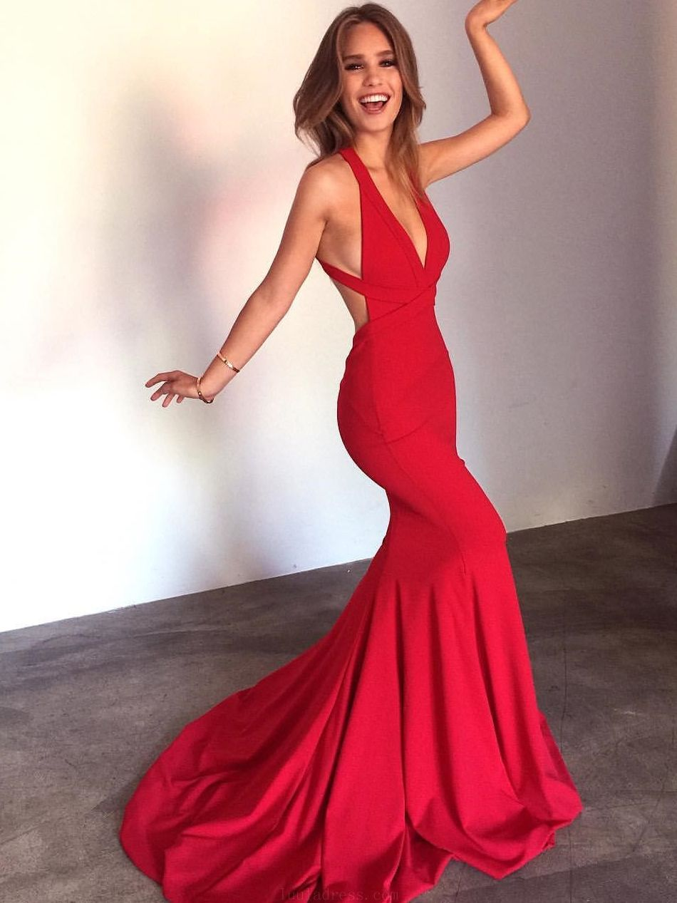 Discount light red mermaid prom dresses eelegant straps mermaid red