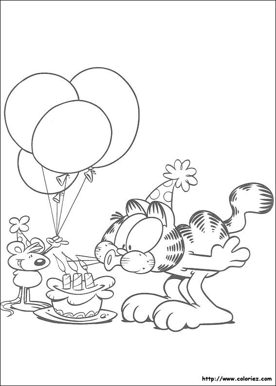 Coloriage Facile Garfield.Garfield Bonne Anniversaire Broderies Coloriage