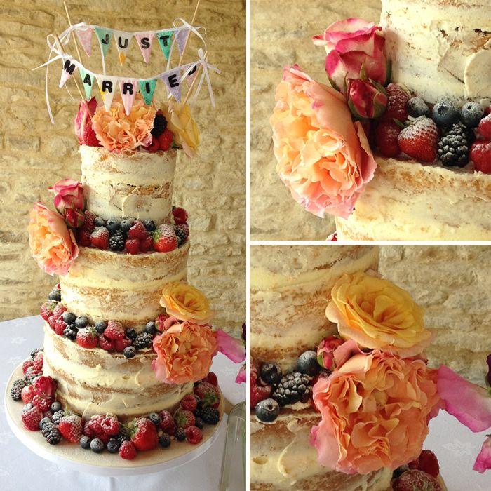Naked Wedding Cake | Tier wedding cakes, Floral decorations and ...