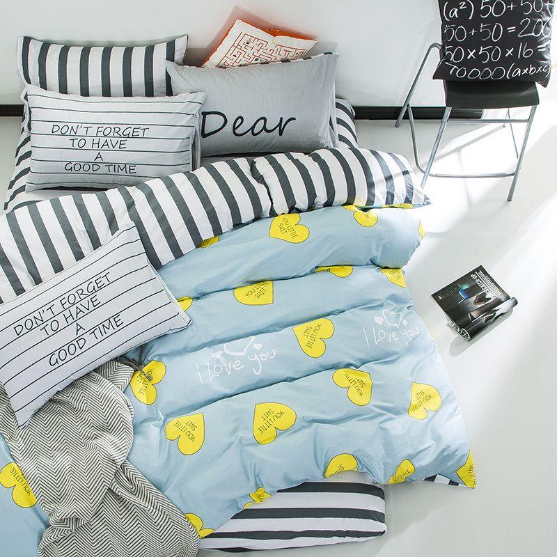 yeeKin Love Heart Design Kids 3PC Twin Size Bed Cover Sets