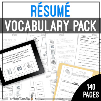 Unit 3 Resume Vocabulary Pack Vocabulary, Vocabulary