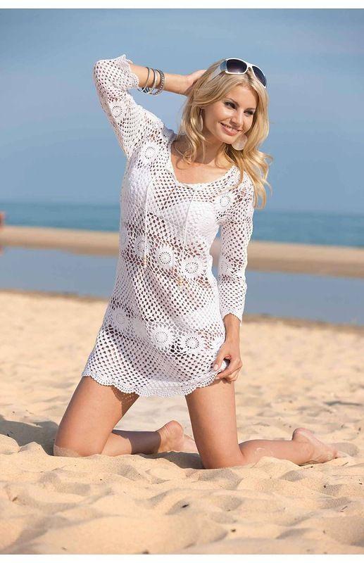 930a4624050 Белая туника для пляжа из мотивов