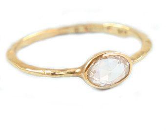 Rosa blanca corte anillo de diamantes anillo de compromiso, 14K oro Solitare anillo, anillo de diamante, anillo de compromiso orgánico