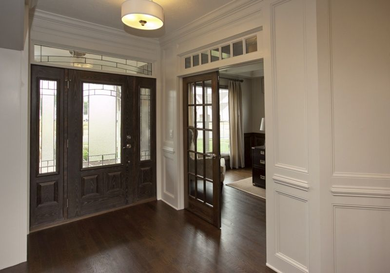Custom Front Door With Double French Doors Leading Into Study By 3 Pillar Homes 3 Pillar